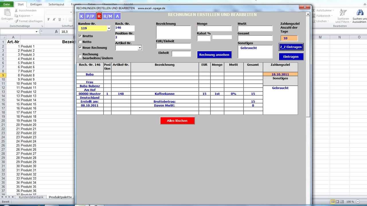 Rechnungen Rechnungsprogramm Auf Basis Einer Excel Datei Vba