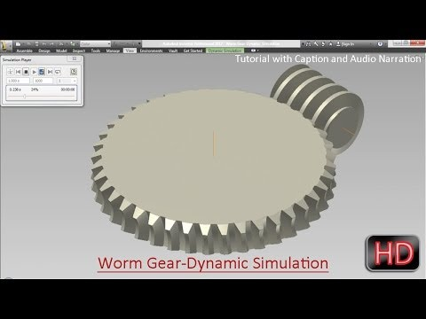 Worm Gear-Dynamic Simulation-Autodesk Inventor Tutorial (with