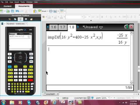 Ti Nspire CAS Implicit Differentiation - YouTube