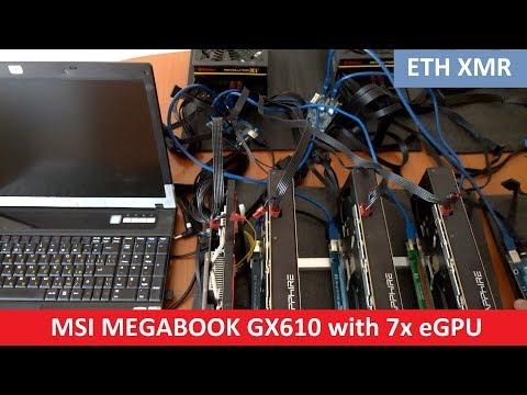 Майнинг на ноутбуке MEGABOOK MSI GX610 - ETH 186 Mh/s | Mining On Laptop With 7 EGPU