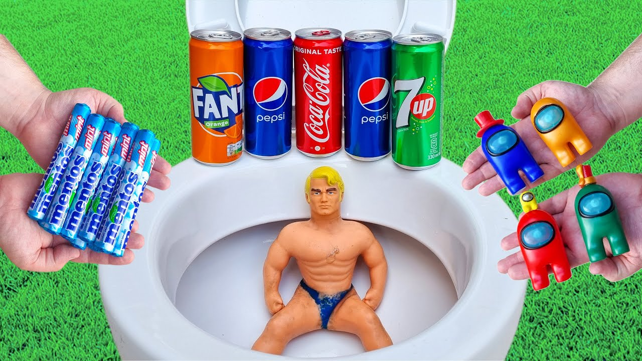 MENTOS vs Coca Cola, Pepsi, Fanta, 7UP, Stretch Armstrong, Among Us in the toilet
