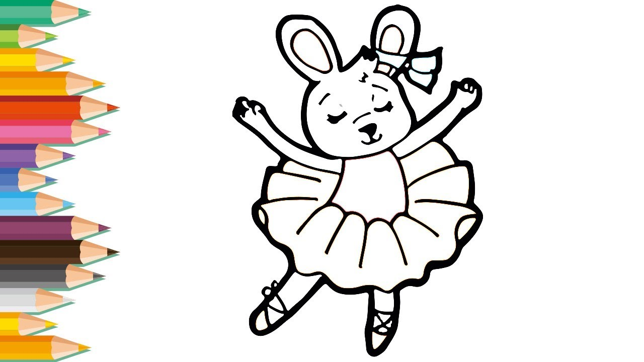 Drawing and Coloring for Kid | Cute Dancing Bunny ...