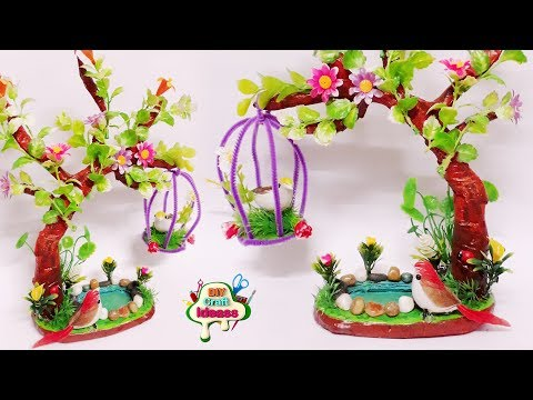 Beautiful tree with bird cage and water diy ideas | Newspaper Craft | Arush Diy Craft ideas