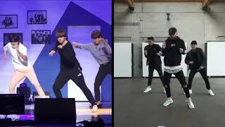 BTS Jungkook Dance practice (ft. Jhope & Jimin) Vs Original Choreo