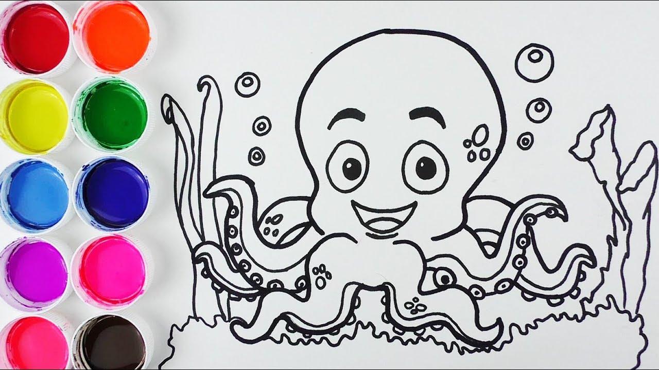 Cómo Dibujar Y Colorear Pulpo De Arco Iris Dibujos Para Niños