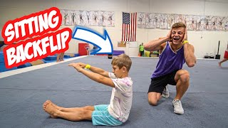8 YEAR OLD TAUGHT ME A SITTING BACKFLIP *INSANE*