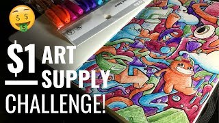 EPIC $1 ART SUPPLY CHALLENGE!! | Super Cheap Ballpoint Pen Doodle Art by Shrimpy!