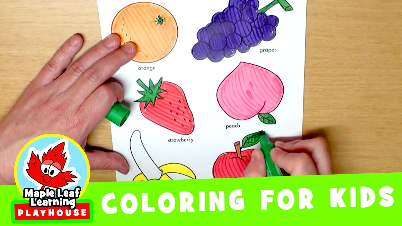 fruit coloring page for kids maple leaf learning playhouse youtube