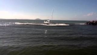 Yacht hits sand bar