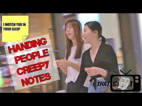 GIVING PEOPLE CREEPY NOTES- Funny Prank | THATIDIOT