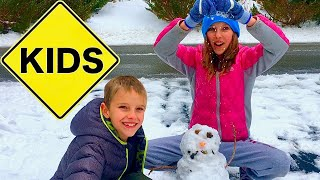 Learn English Words! Build A Frozen Snowman with Sign Post Kids!