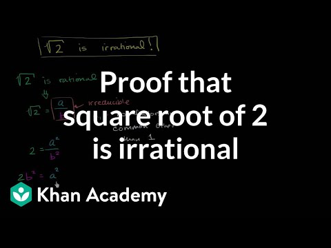 Proof that square root of 2 is irrational | Algebra I | Khan Academy