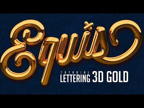 Tutorial Lettering 3D Gold