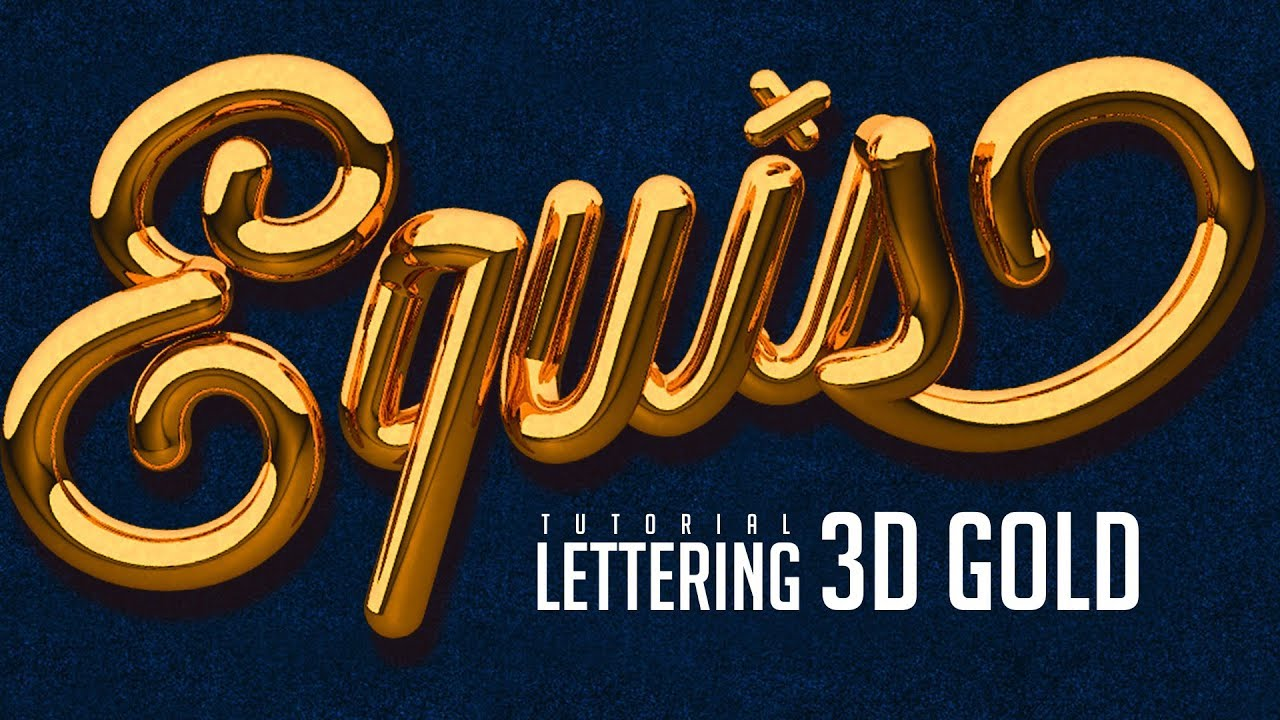 Tutorial Lettering 3D Gold