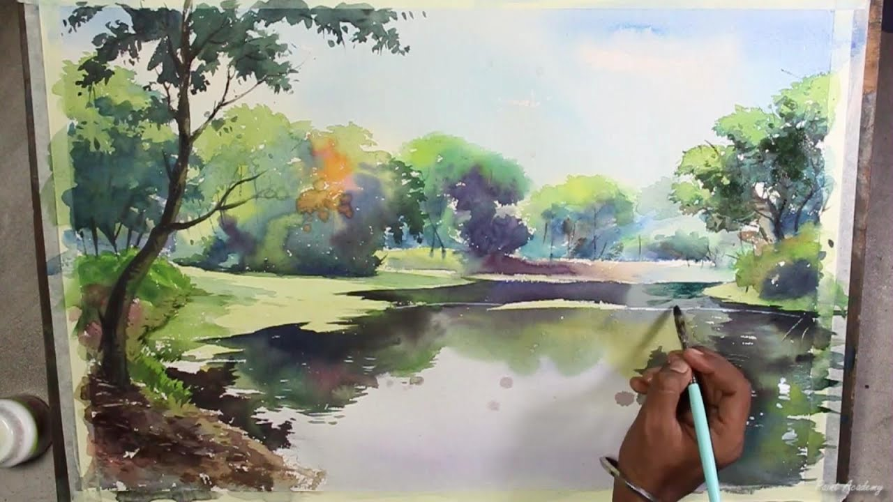 Watercolor landscape painting speed art video