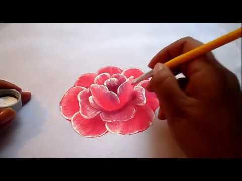 Pintura Textil Como Pintar Fácil Una Rosa How To Paint A Rose