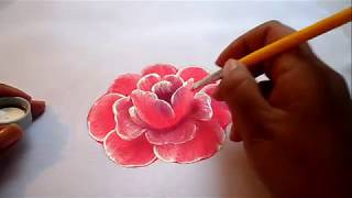 Pintura textil como pintar fácil una rosa, how to paint a rose easily