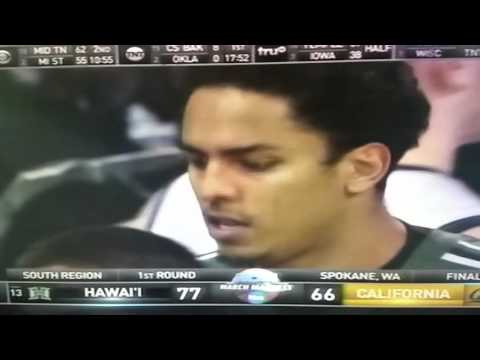 2016 NCAA Championship - #13 Hawaii upsets #4 Cal,  77-66   3-18-16