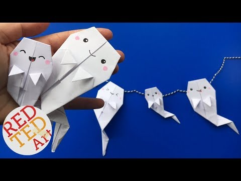 Origami Ghost DIY - Easy Paper Ghost Garland - Love this Easy Paper Ghost DIY