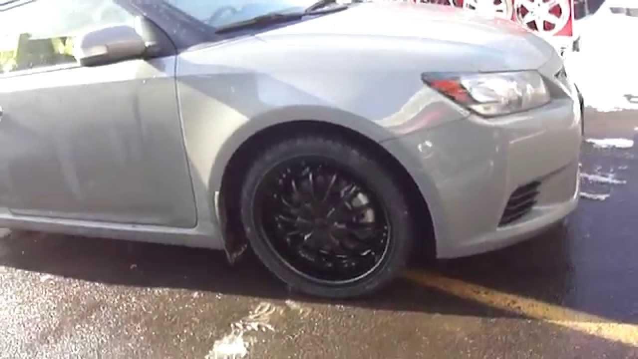 "Snow Tires For Scion Tc >> HILLYARD CUSTOM RIM&TIRE 2013 SCION TC ROLLING ON 18"" MATT BLACK RIMS & SNOW TIRES - YouTube"
