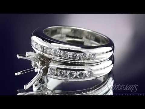 Channel Set Engagement And Wedding Bridal Set 4 Lr1808 Lr3377