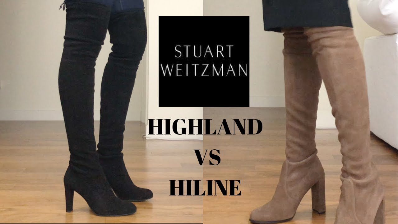 05b7c0288e UNBOXING & TRY ON | Stuart Weitzman Hiline vs Highland Thigh High Boots