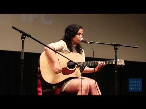 HRW Film Festival - No Land's Song Emel Mathlouthi Performance, NY 2015