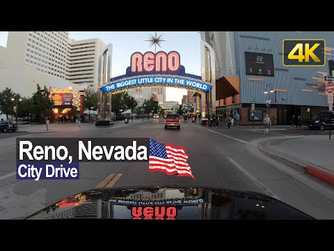 Reno Downtown Sunset Drive | in 4K