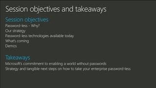 Microsoft's guide for going password-less - BRK2078