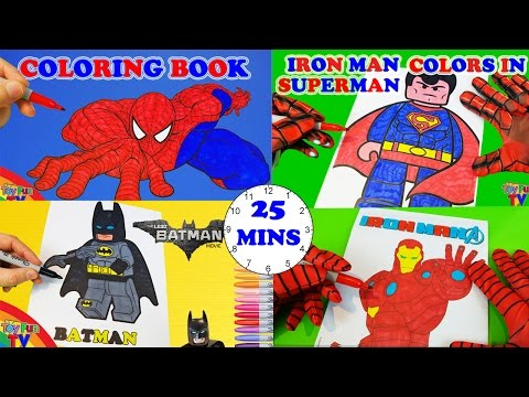 SuperHeroes Coloring Book Pages Spiderman Ironman Avengers Lego Batman Coloring Book ToyfunTV