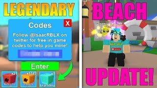 NEW BEACH UPDATE *CODES* IN MINING SIMULATOR! (Roblox)