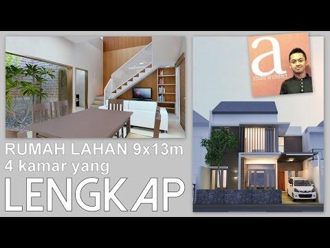 Desain rumah 9x13m dengan 4 kamar tidur yang lengkap