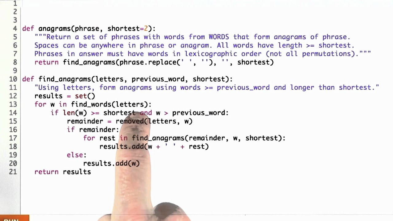 Anagrams Solution Design Of Computer Programs Youtube