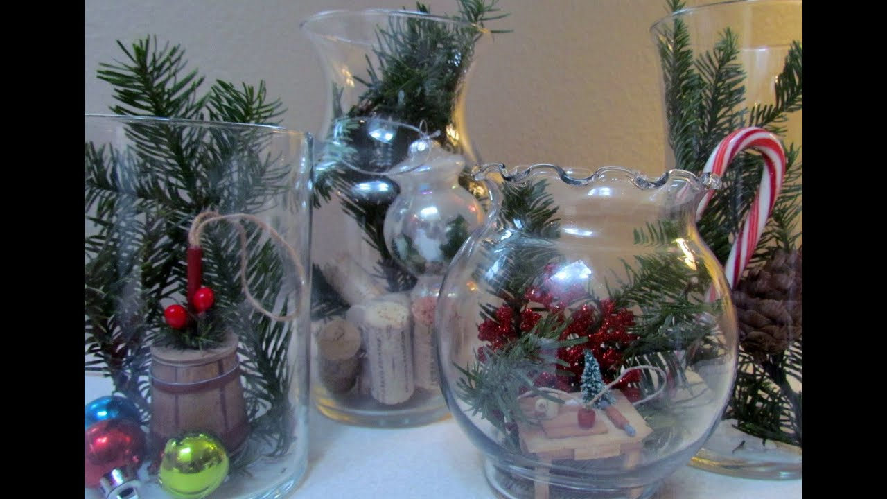 diy terrarium holiday glass jar vase christmas decoration glass craft 14 easy thrfity youtube - Glass Christmas Decorations