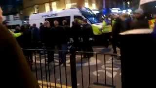 Arsenal escort arrive at White Hart Lane