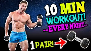 """10 MIN AT HOME """"FULL BODY"""" WORKOUT! (DUMBBELLS ONLY!)"""