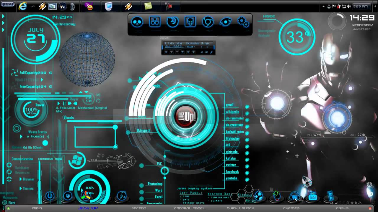 Ironman windows 7 custom themes youtube Custom design windows