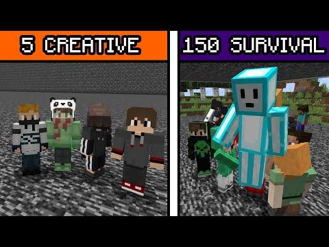 5 CREATIVE Vs 150 SURVIVAL (Battle Siege) ...