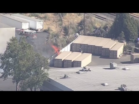 RAW: Chopper 5 Video Of Fire At San Leandro Industrial Yard