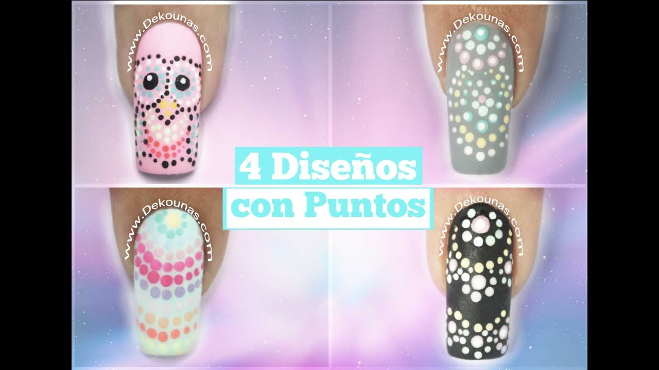 4 Diseños De Uñas Facil Con Puntos Easy Paint Point Nail Art Youtube