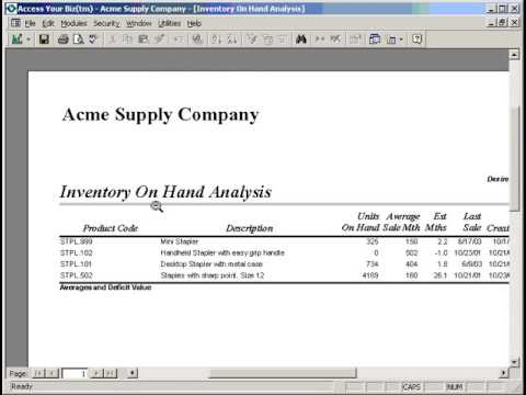 Part 1 of 3 Inventory Analysis and Procurement Report
