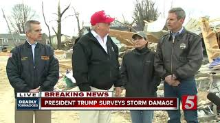 President Trump surveys tornado damage in Putnam County
