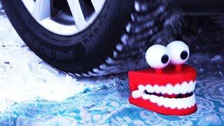 Crushing Things by Car! - SLIME, TEETH, FLORAL FOAM and More!