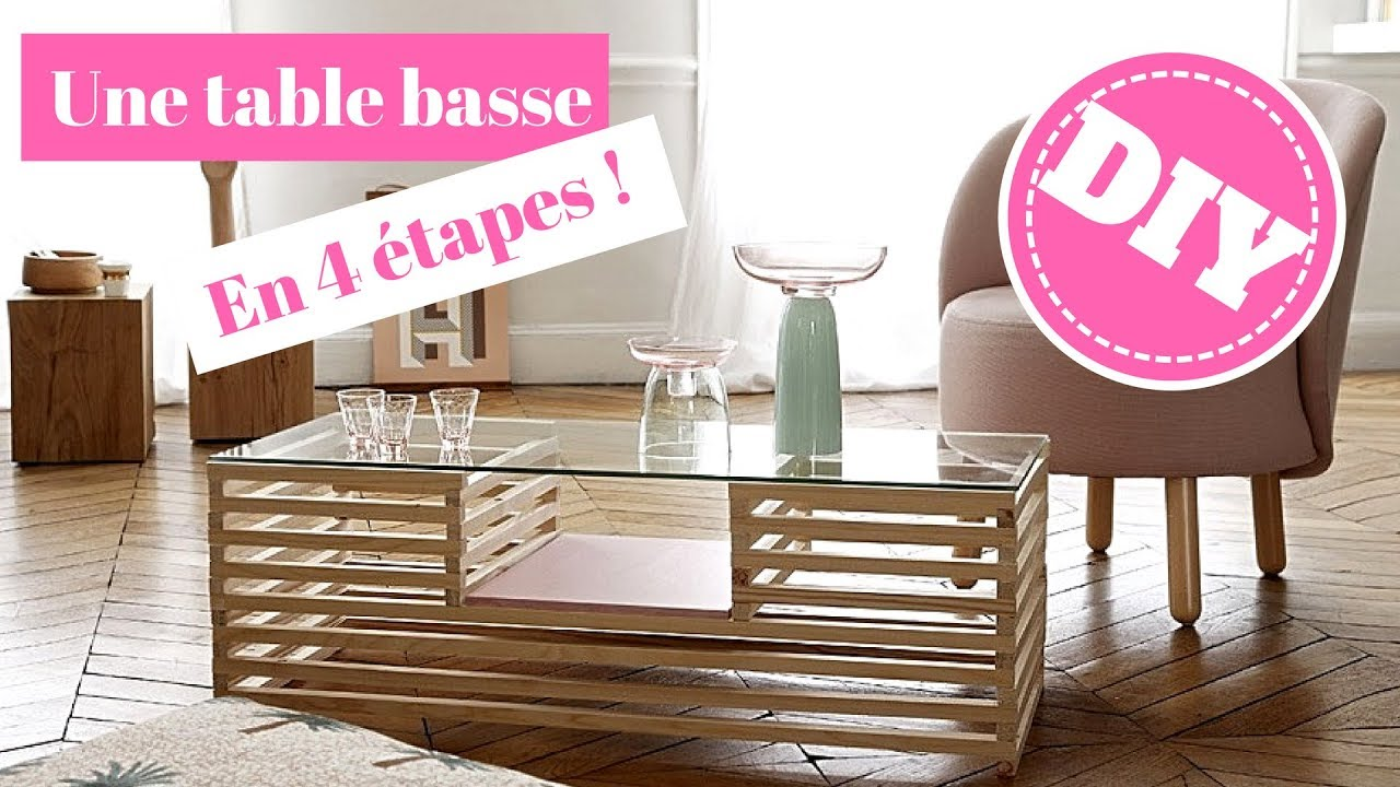 Diy une table basse en bois et verre youtube for Table basse bois originale