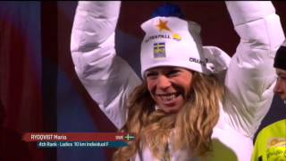 Charlotte KALLA, Jessie DIGGINS, Caitlin GREGG   10km F MEDAL ceremony   VM Falun 2015