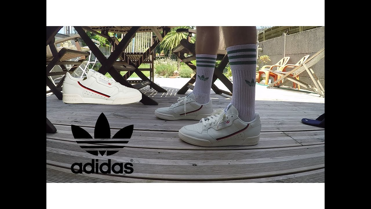 On feet Adidas Continental 80 White tintScarlet YouTube