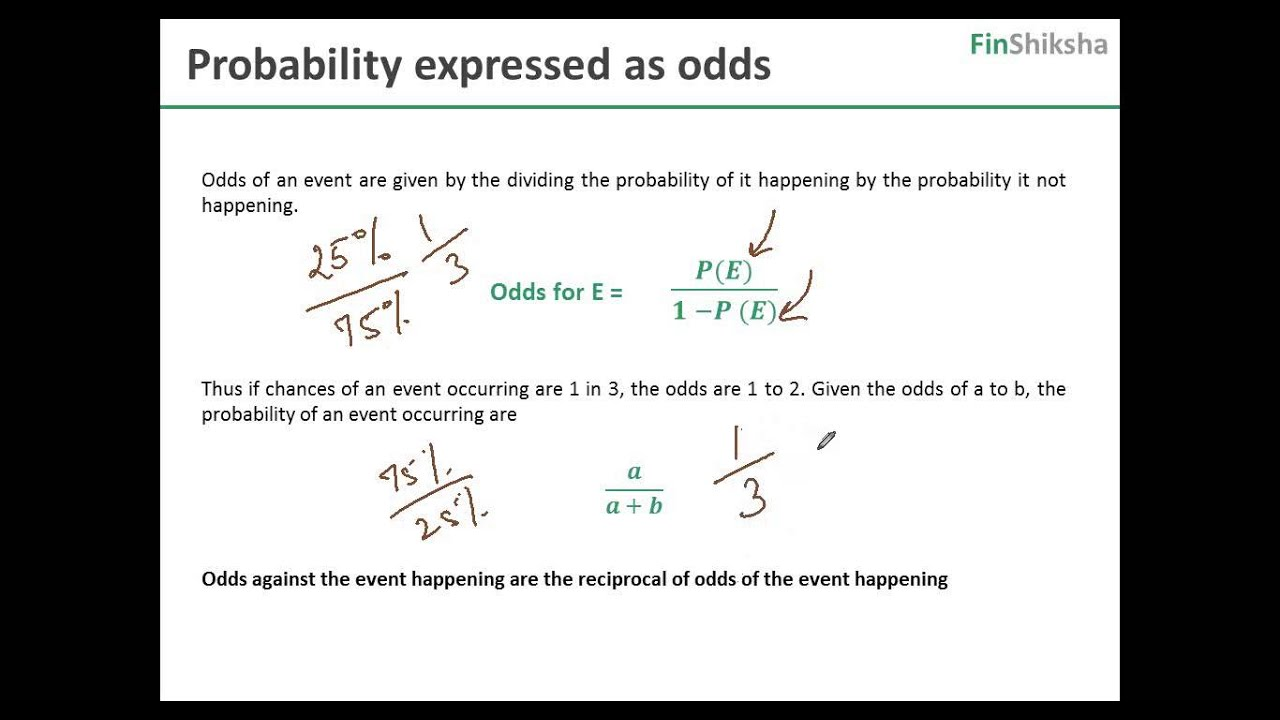 FinShiksha - Finance Concepts -- Quant Finance - Probability expressed as  odds