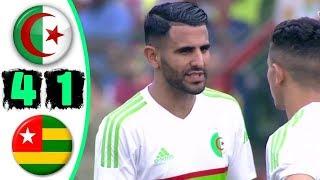 ملخص مباراة الجزائر وتوجو 4-1 🔥 تالق واهداف رياض محرز 🔥 جنون حفيظ دراجي 🔥