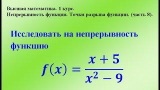 непрерывность функции. Точки разрыва функции (часть 8). Высшая математика