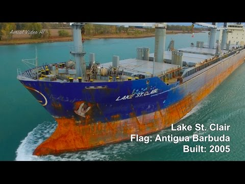 "The ""Lake St Clair"" Freighter Harsens Island Drone Aerial"